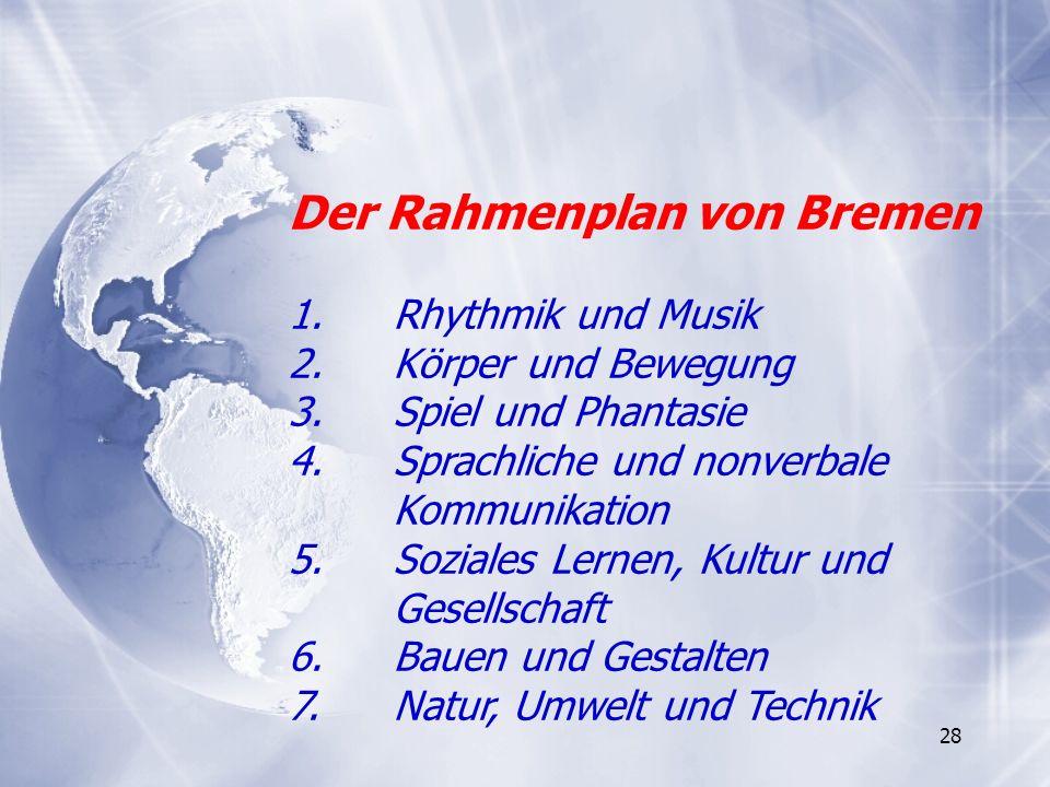 28 Der Rahmenplan von Bremen 1. Rhythmik und Musik 2.Körper und Bewegung 3.Spiel und Phantasie 4.Sprachliche und nonverbale Kommunikation 5.Soziales L