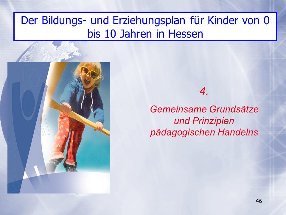 46 4. Gemeinsame Grundsätze und Prinzipien pädagogischen Handelns Der Bildungs- und Erziehungsplan für Kinder von 0 bis 10 Jahren in Hessen
