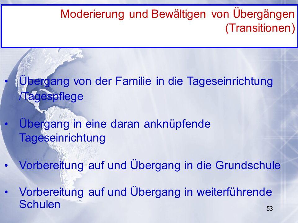 53 Moderierung und Bew ä ltigen von Ü berg ä ngen (Transitionen) Übergang von der Familie in die Tageseinrichtung /Tagespflege Übergang in eine daran