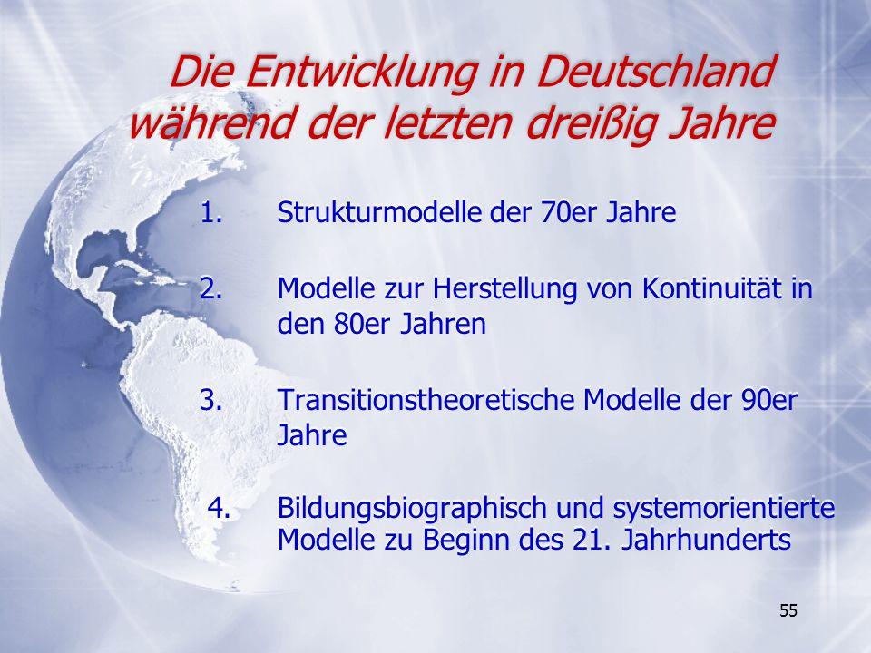 55 1. Strukturmodelle der 70er Jahre 2.Modelle zur Herstellung von Kontinuität in den 80er Jahren 3.Transitionstheoretische Modelle der 90er Jahre 4.