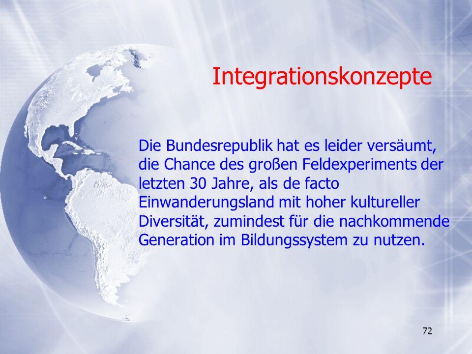 72 Integrationskonzepte Die Bundesrepublik hat es leider versäumt, die Chance des großen Feldexperiments der letzten 30 Jahre, als de facto Einwanderu