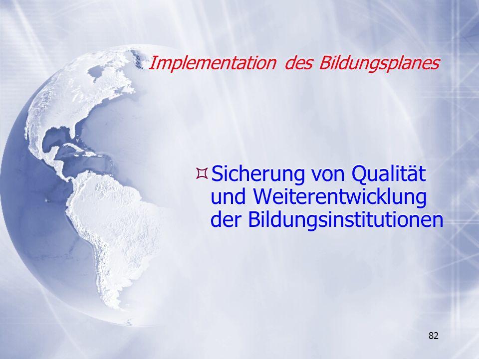 82 Implementation des Bildungsplanes Sicherung von Qualität und Weiterentwicklung der Bildungsinstitutionen
