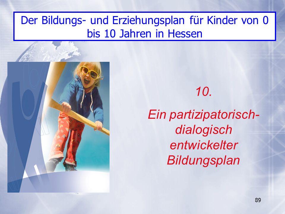 89 10. Ein partizipatorisch- dialogisch entwickelter Bildungsplan Der Bildungs- und Erziehungsplan für Kinder von 0 bis 10 Jahren in Hessen