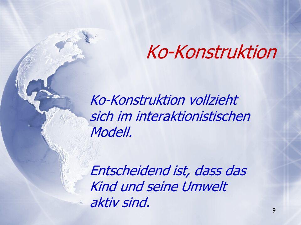 9 Ko-Konstruktion Ko-Konstruktion vollzieht sich im interaktionistischen Modell. Entscheidend ist, dass das Kind und seine Umwelt aktiv sind. Ko-Konst
