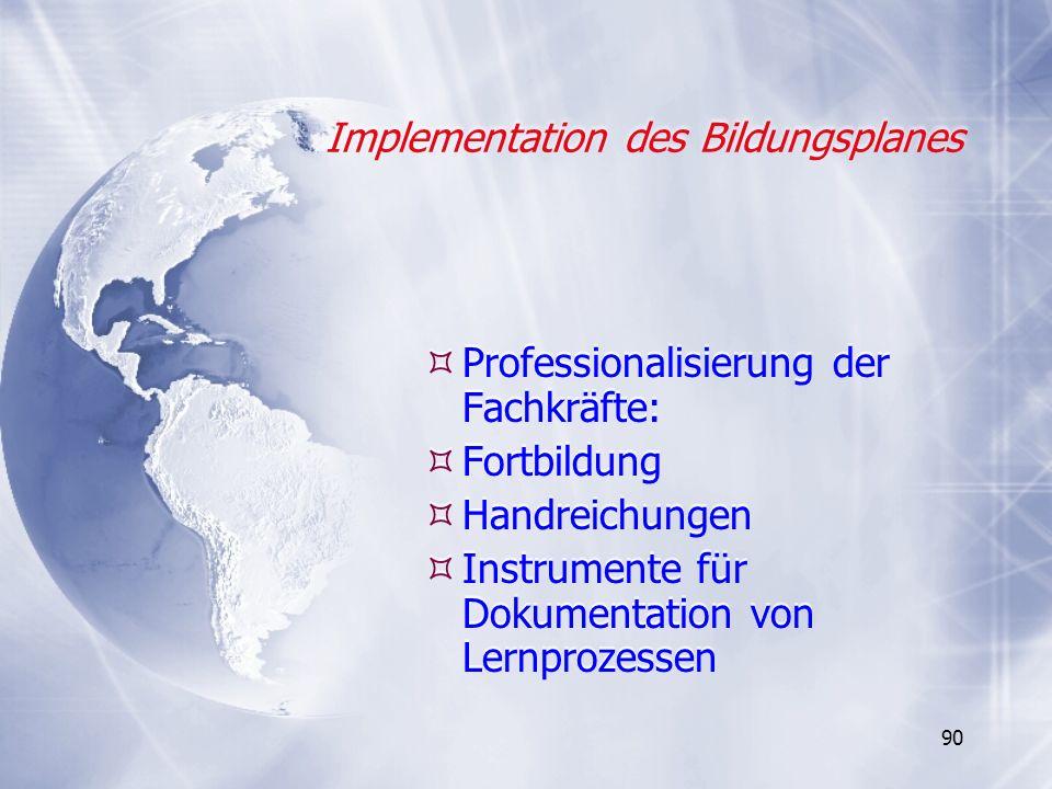 90 Implementation des Bildungsplanes Professionalisierung der Fachkräfte: Fortbildung Handreichungen Instrumente für Dokumentation von Lernprozessen