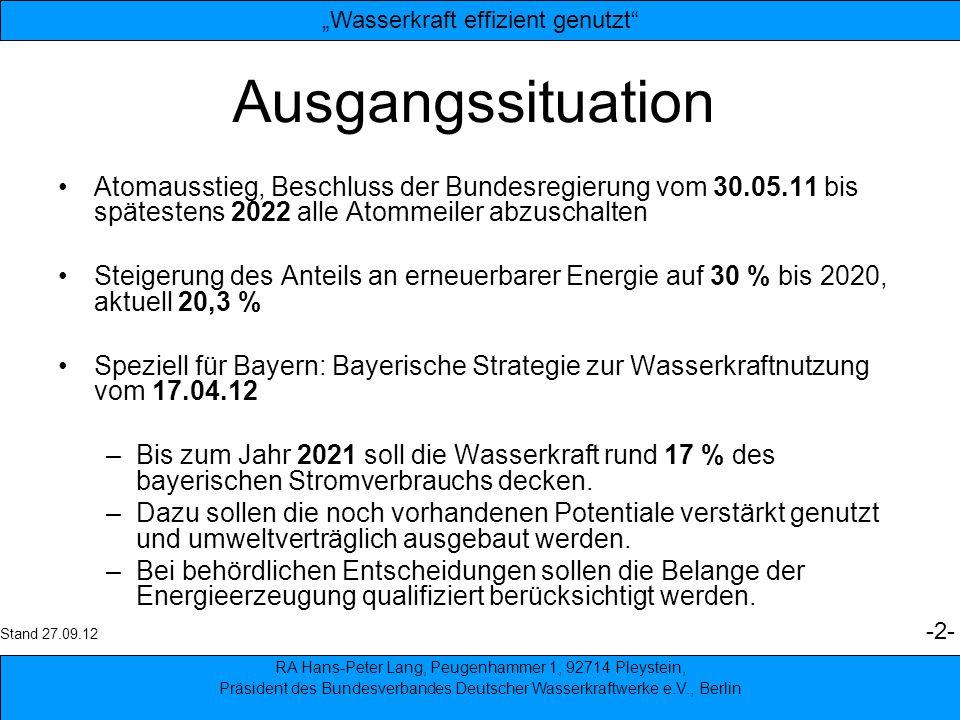 3 Derzeitiger Anteil der Wasserkraft an der Stromproduktion BayernDeutschlandweltweit Anteil in % 15 %5 %18 % erzeugte Leistung 12 Mrd.