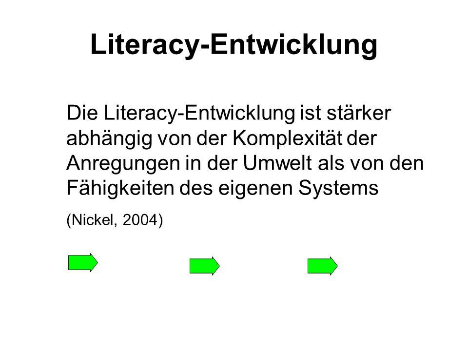 Literacy-Entwicklung Die Literacy-Entwicklung ist stärker abhängig von der Komplexität der Anregungen in der Umwelt als von den Fähigkeiten des eigene