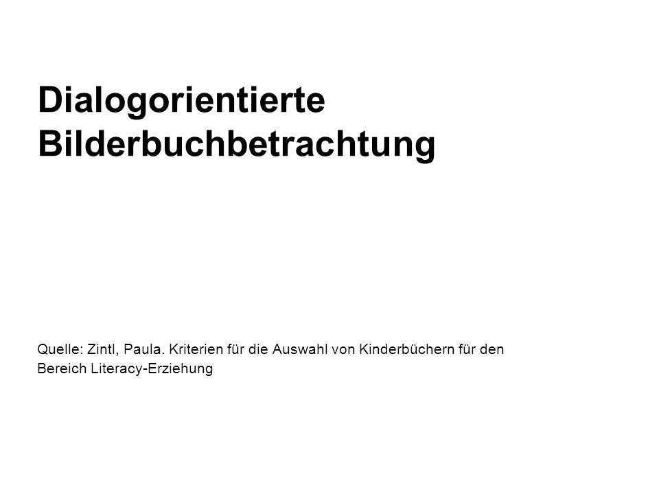 Dialogorientierte Bilderbuchbetrachtung Quelle: Zintl, Paula. Kriterien für die Auswahl von Kinderbüchern für den Bereich Literacy-Erziehung