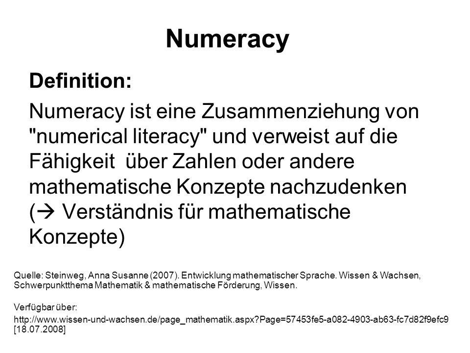 Numeracy Definition: Numeracy ist eine Zusammenziehung von