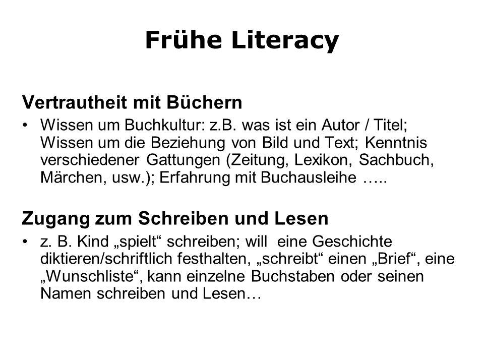 Frühe Literacy Vertrautheit mit Büchern Wissen um Buchkultur: z.B. was ist ein Autor / Titel; Wissen um die Beziehung von Bild und Text; Kenntnis vers