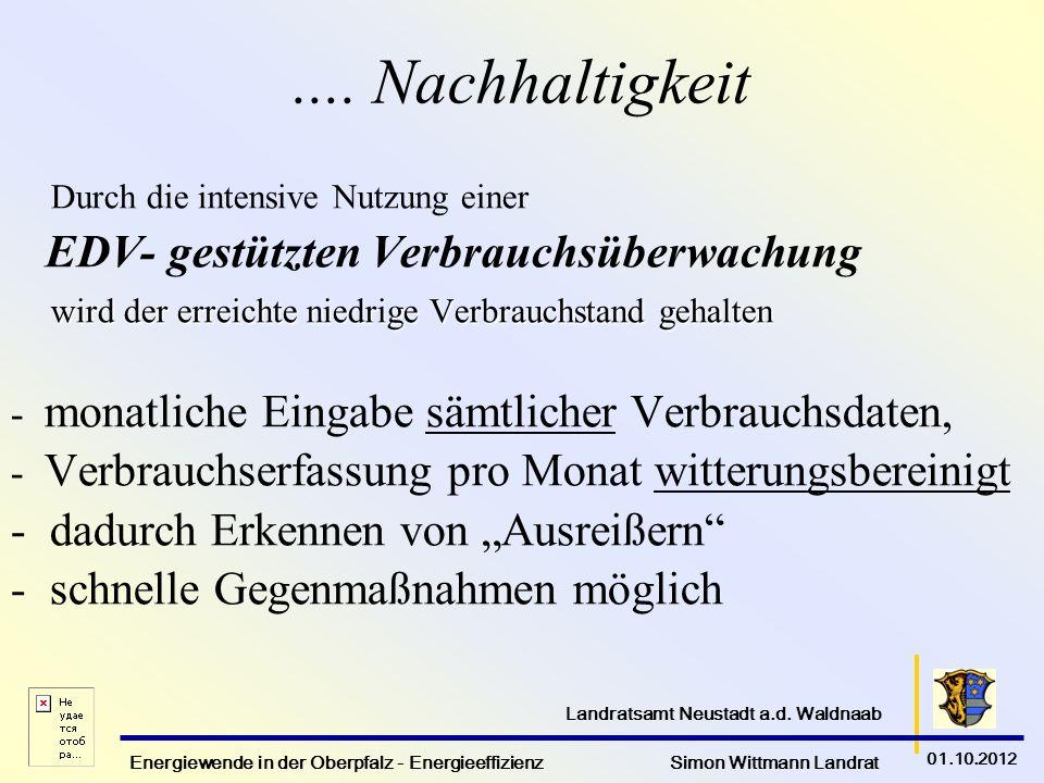 Energiewende in der Oberpfalz - Energieeffizienz Simon Wittmann Landrat 01.10.2012 Landratsamt Neustadt a.d. Waldnaab.... Nachhaltigkeit Durch die int