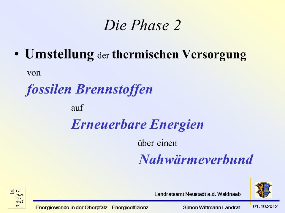 Energiewende in der Oberpfalz - Energieeffizienz Simon Wittmann Landrat 01.10.2012 Landratsamt Neustadt a.d. Waldnaab Die Phase 2 Umstellung der therm