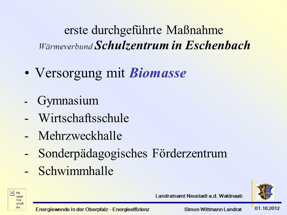 Energiewende in der Oberpfalz - Energieeffizienz Simon Wittmann Landrat 01.10.2012 Landratsamt Neustadt a.d. Waldnaab erste durchgeführte Maßnahme Wär