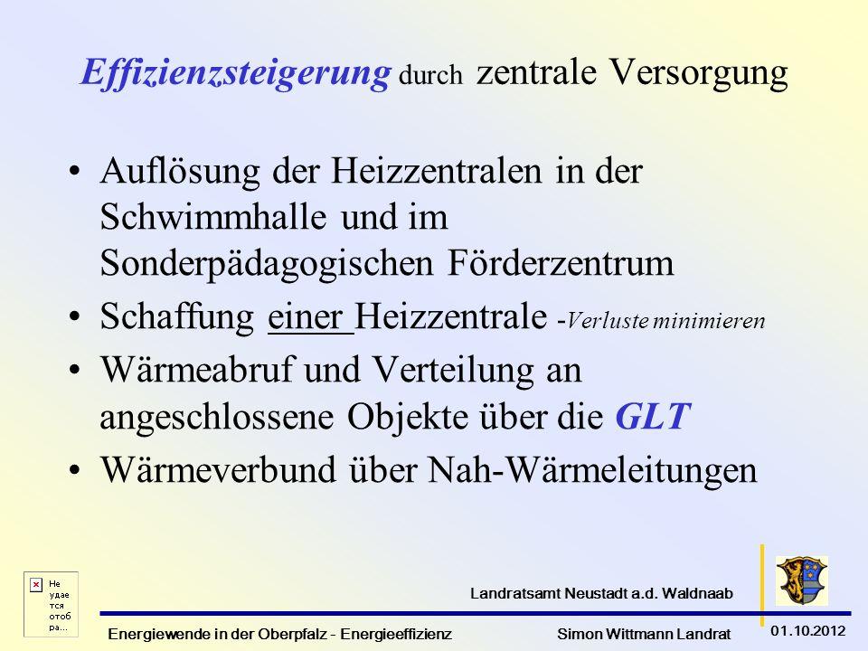 Energiewende in der Oberpfalz - Energieeffizienz Simon Wittmann Landrat 01.10.2012 Landratsamt Neustadt a.d. Waldnaab Effizienzsteigerung durch zentra