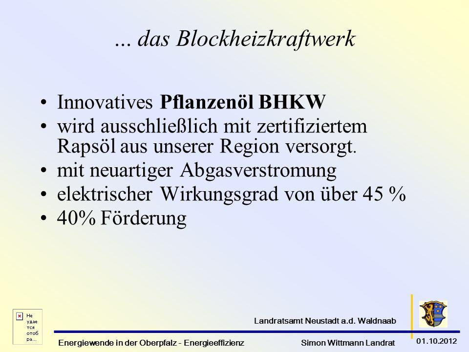 Energiewende in der Oberpfalz - Energieeffizienz Simon Wittmann Landrat 01.10.2012 Landratsamt Neustadt a.d. Waldnaab... das Blockheizkraftwerk Innova