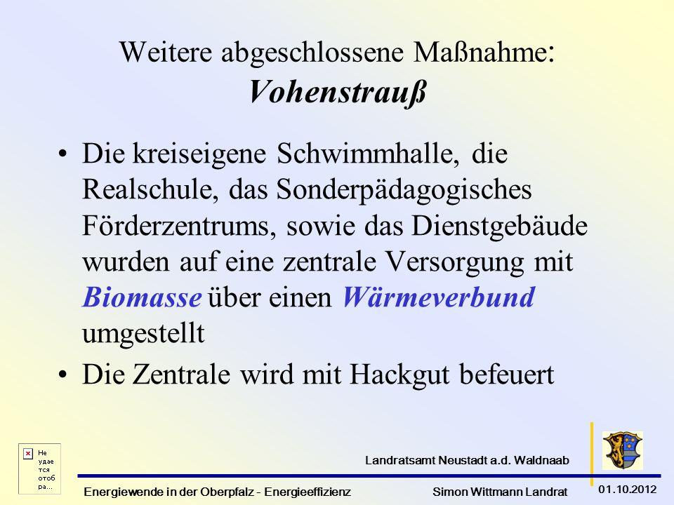 Energiewende in der Oberpfalz - Energieeffizienz Simon Wittmann Landrat 01.10.2012 Landratsamt Neustadt a.d. Waldnaab Weitere abgeschlossene Maßnahme