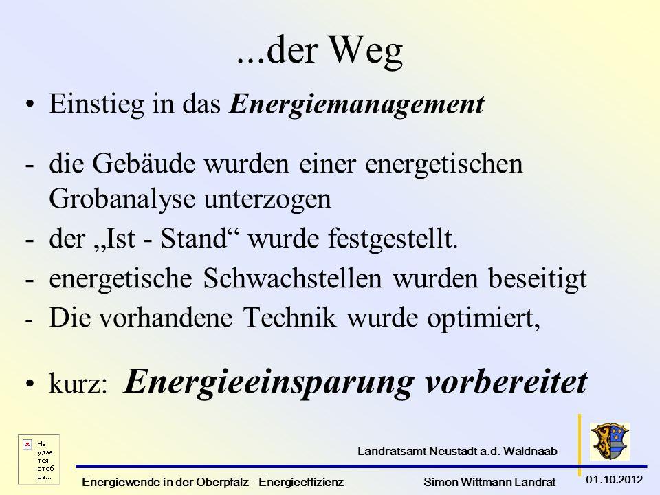 Energiewende in der Oberpfalz - Energieeffizienz Simon Wittmann Landrat 01.10.2012 Landratsamt Neustadt a.d. Waldnaab...der Weg Einstieg in das Energi