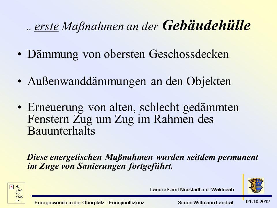 Energiewende in der Oberpfalz - Energieeffizienz Simon Wittmann Landrat 01.10.2012 Landratsamt Neustadt a.d. Waldnaab.. erste Maßnahmen an der Gebäude