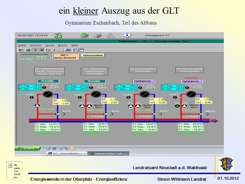 Energiewende in der Oberpfalz - Energieeffizienz Simon Wittmann Landrat 01.10.2012 Landratsamt Neustadt a.d. Waldnaab ein kleiner Auszug aus der GLT G