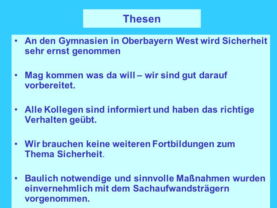 Thesen An den Gymnasien in Oberbayern West wird Sicherheit sehr ernst genommen Mag kommen was da will – wir sind gut darauf vorbereitet. Alle Kollegen