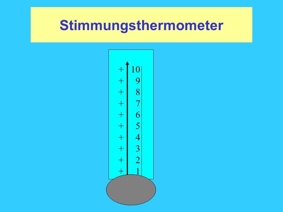 Stimmungsthermometer + 10 + 9 + 8 + 7 + 6 + 5 + 4 + 3 + 2 + 1