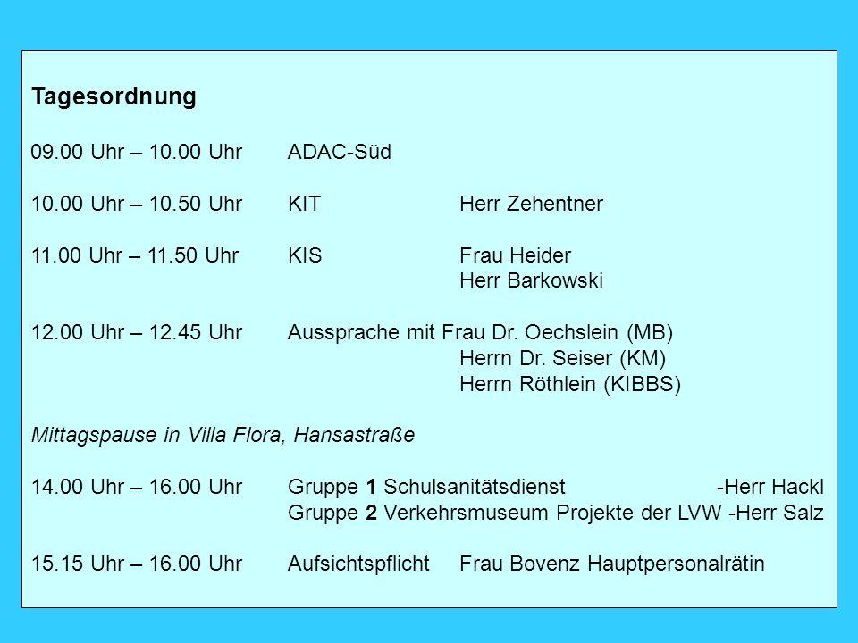 Tagesordnung 09.00 Uhr – 10.00 Uhr ADAC-Süd 10.00 Uhr – 10.50 UhrKITHerr Zehentner 11.00 Uhr – 11.50 UhrKISFrau Heider Herr Barkowski 12.00 Uhr – 12.4