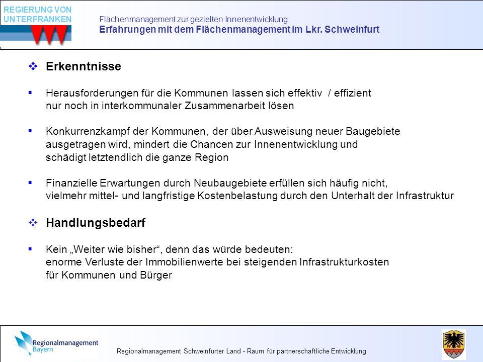 Flächenmanagement zur gezielten Innenentwicklung Erfahrungen mit dem Flächenmanagement im Lkr. Schweinfurt Erkenntnisse Herausforderungen für die Komm