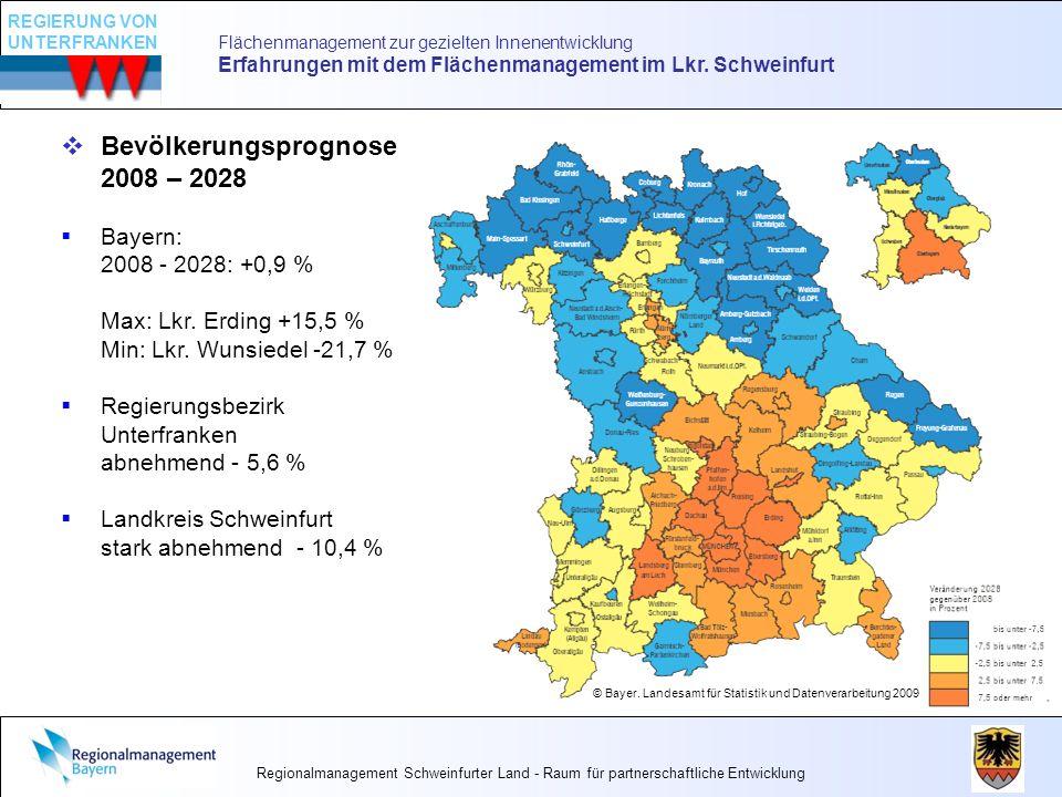 Bevölkerungsprognose 2008 – 2028 Bayern: 2008 - 2028: +0,9 % Max: Lkr. Erding +15,5 % Min: Lkr. Wunsiedel -21,7 % Regierungsbezirk Unterfranken abnehm