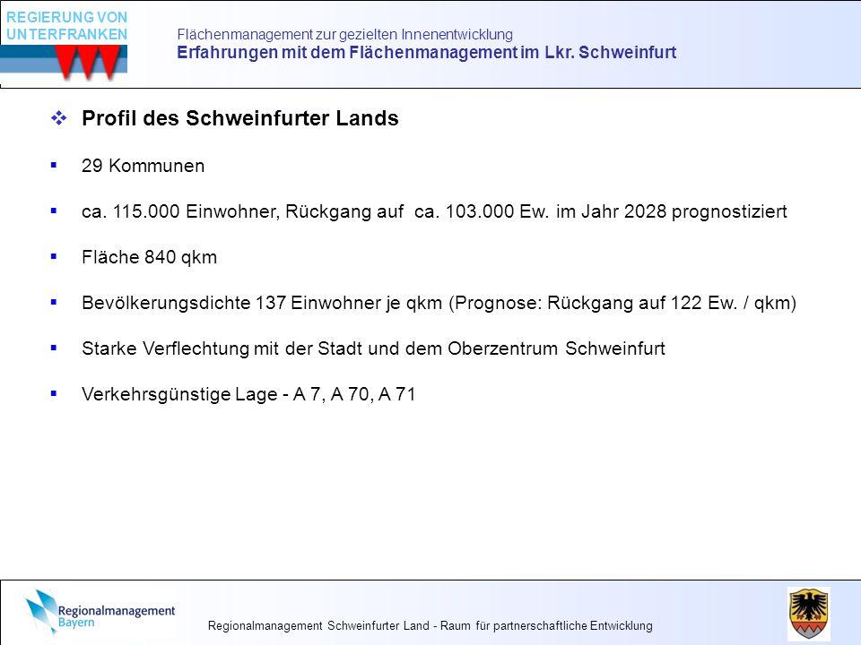 Flächenmanagement zur gezielten Innenentwicklung Erfahrungen mit dem Flächenmanagement im Lkr. Schweinfurt Profil des Schweinfurter Lands 29 Kommunen