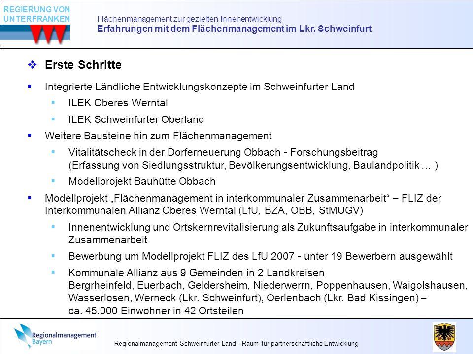 Flächenmanagement zur gezielten Innenentwicklung Erfahrungen mit dem Flächenmanagement im Lkr. Schweinfurt Erste Schritte Integrierte Ländliche Entwic