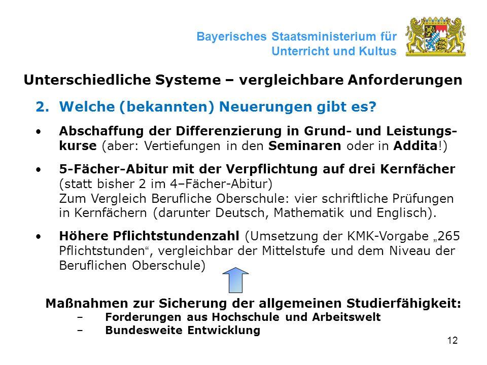 12 Bayerisches Staatsministerium für Unterricht und Kultus Unterschiedliche Systeme – vergleichbare Anforderungen 2.Welche (bekannten) Neuerungen gibt es.