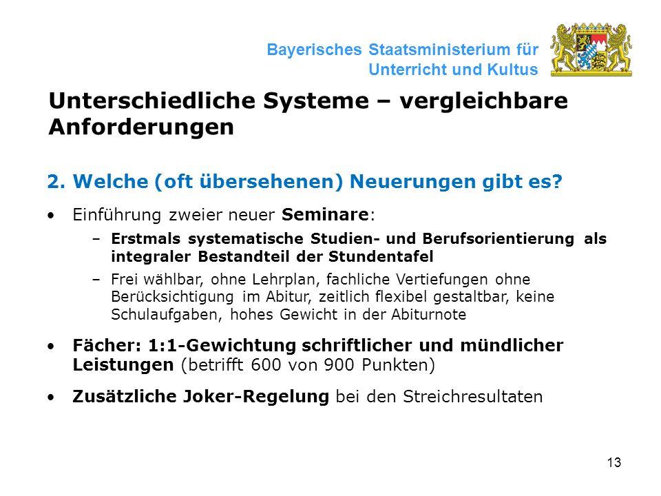 13 Bayerisches Staatsministerium für Unterricht und Kultus Unterschiedliche Systeme – vergleichbare Anforderungen 2.