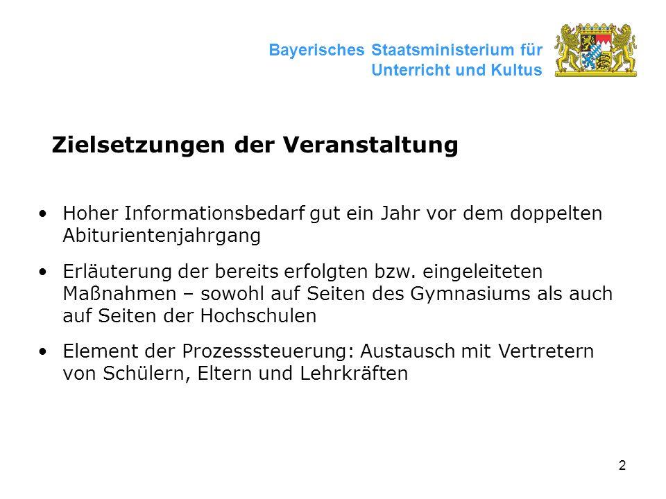 2 Bayerisches Staatsministerium für Unterricht und Kultus Zielsetzungen der Veranstaltung Hoher Informationsbedarf gut ein Jahr vor dem doppelten Abiturientenjahrgang Erläuterung der bereits erfolgten bzw.