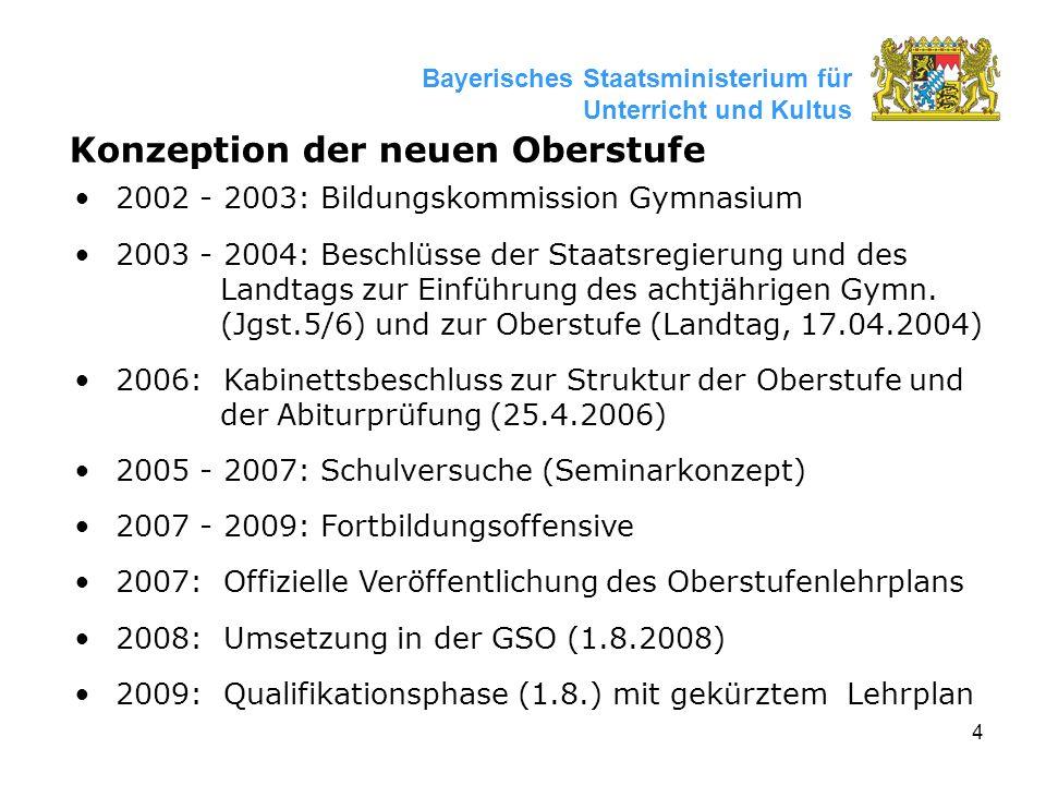 4 Bayerisches Staatsministerium für Unterricht und Kultus Konzeption der neuen Oberstufe 2002 - 2003: Bildungskommission Gymnasium 2003 - 2004: Beschlüsse der Staatsregierung und des Landtags zur Einführung des achtjährigen Gymn.