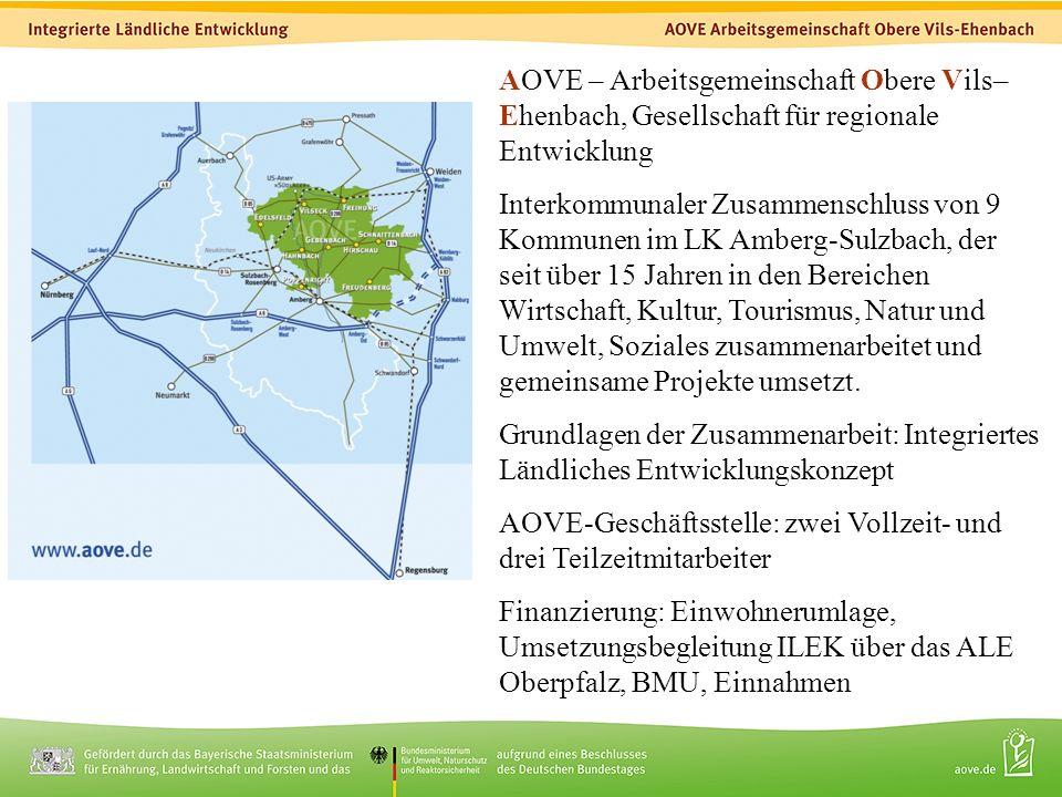 2 AOVE – Arbeitsgemeinschaft Obere Vils– Ehenbach, Gesellschaft für regionale Entwicklung Interkommunaler Zusammenschluss von 9 Kommunen im LK Amberg-Sulzbach, der seit über 15 Jahren in den Bereichen Wirtschaft, Kultur, Tourismus, Natur und Umwelt, Soziales zusammenarbeitet und gemeinsame Projekte umsetzt.