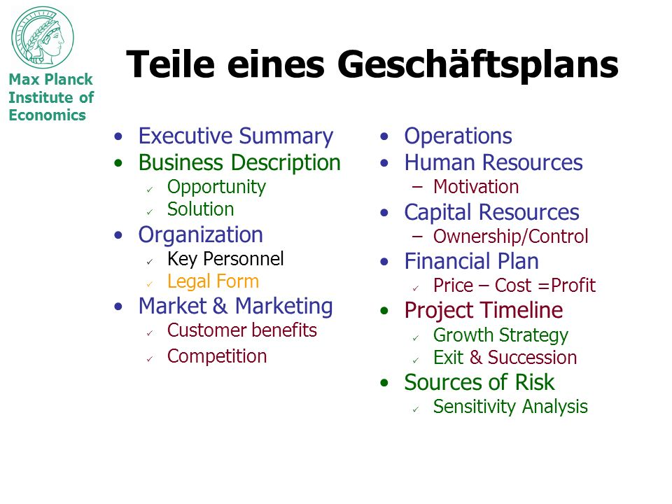 Max Planck Institute of Economics Teile eines Geschäftsplans Executive Summary Business Description Opportunity Solution Organization Key Personnel Le