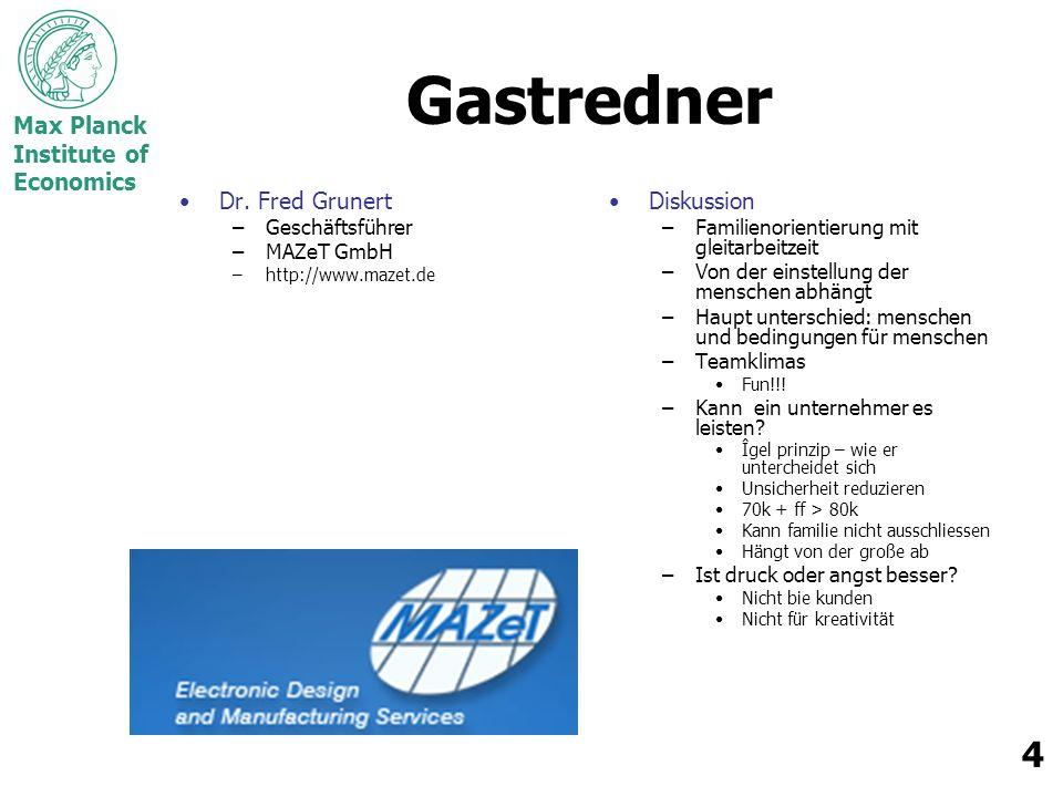 Max Planck Institute of Economics 4 Gastredner Dr.