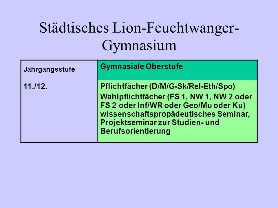Jahrgangsstufe Gymnasiale Oberstufe 11./12.Pflichtfächer (D/M/G-Sk/Rel-Eth/Spo) Wahlpflichtfächer (FS 1, NW 1, NW 2 oder FS 2 oder Inf/WR oder Geo/Mu