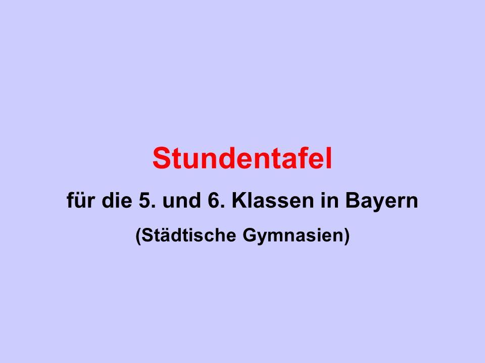 Stundentafel für die 5. und 6. Klassen in Bayern (Städtische Gymnasien)
