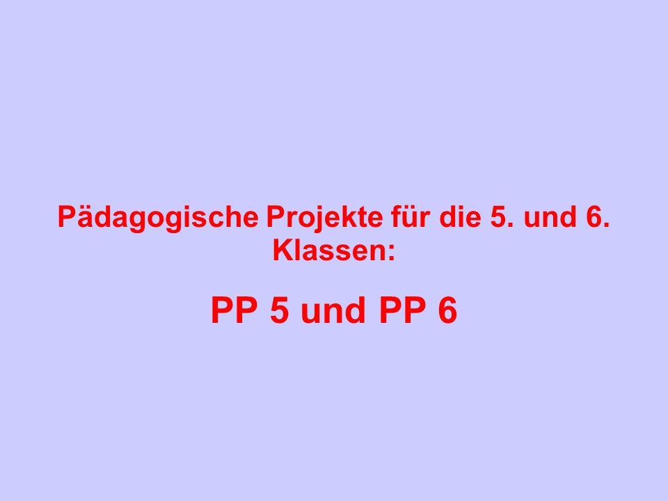 Pädagogische Projekte für die 5. und 6. Klassen: PP 5 und PP 6