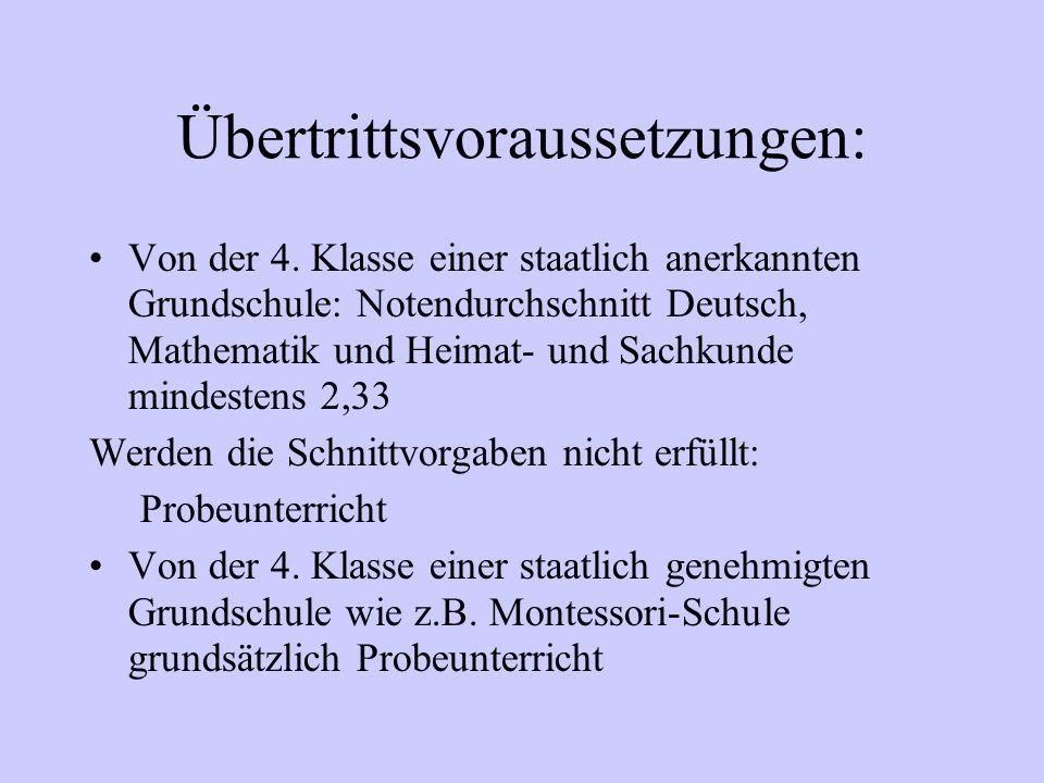 Übertrittsvoraussetzungen: Von der 4. Klasse einer staatlich anerkannten Grundschule: Notendurchschnitt Deutsch, Mathematik und Heimat- und Sachkunde