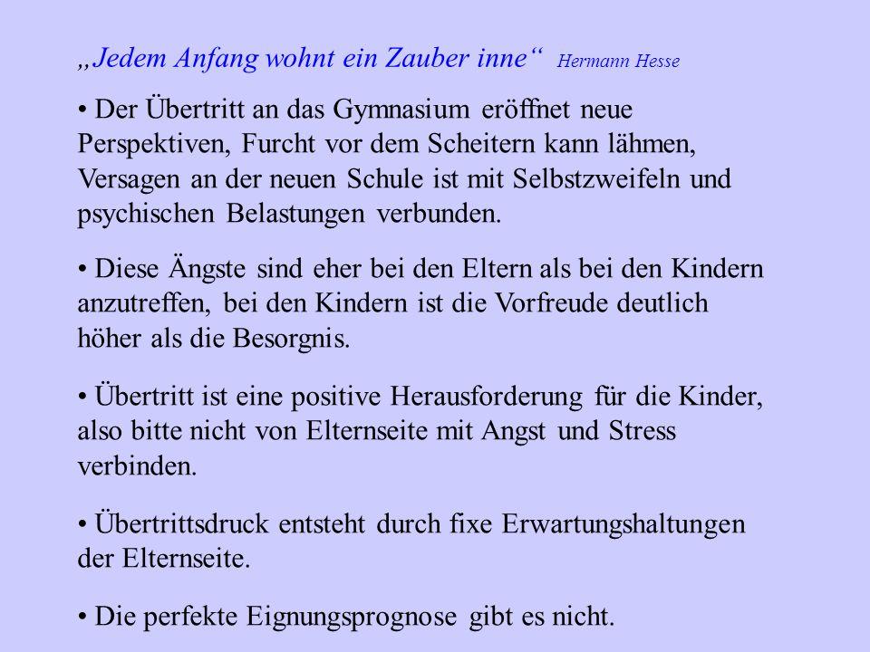 Jedem Anfang wohnt ein Zauber inne Hermann Hesse Der Übertritt an das Gymnasium eröffnet neue Perspektiven, Furcht vor dem Scheitern kann lähmen, Vers