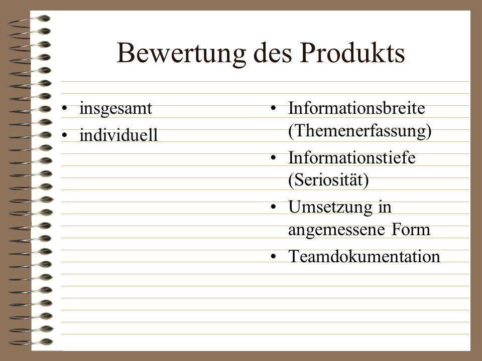 Bewertung des Produkts insgesamt individuell Informationsbreite (Themenerfassung) Informationstiefe (Seriosität) Umsetzung in angemessene Form Teamdok