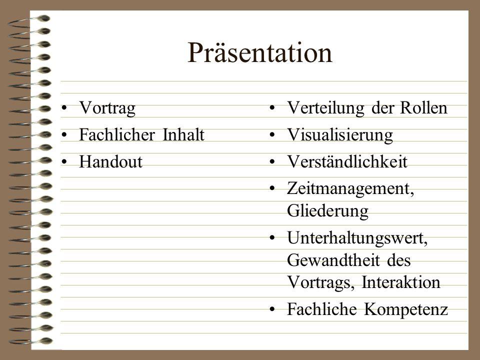 Präsentation Vortrag Fachlicher Inhalt Handout Verteilung der Rollen Visualisierung Verständlichkeit Zeitmanagement, Gliederung Unterhaltungswert, Gew