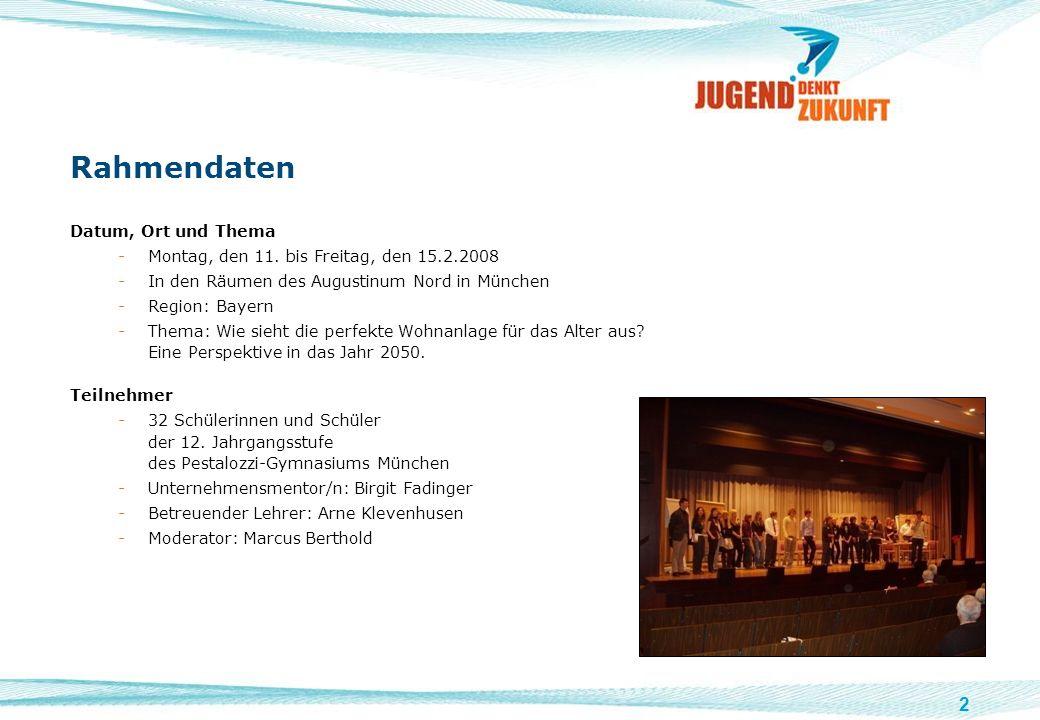 2 Rahmendaten Datum, Ort und Thema -Montag, den 11. bis Freitag, den 15.2.2008 -In den Räumen des Augustinum Nord in München -Region: Bayern -Thema: W