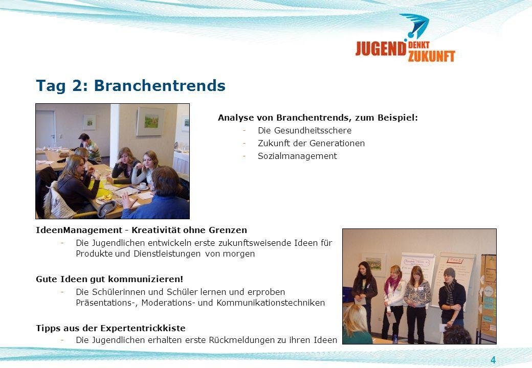 4 Tag 2: Branchentrends Analyse von Branchentrends, zum Beispiel: -Die Gesundheitsschere -Zukunft der Generationen -Sozialmanagement Bild von Jugendli