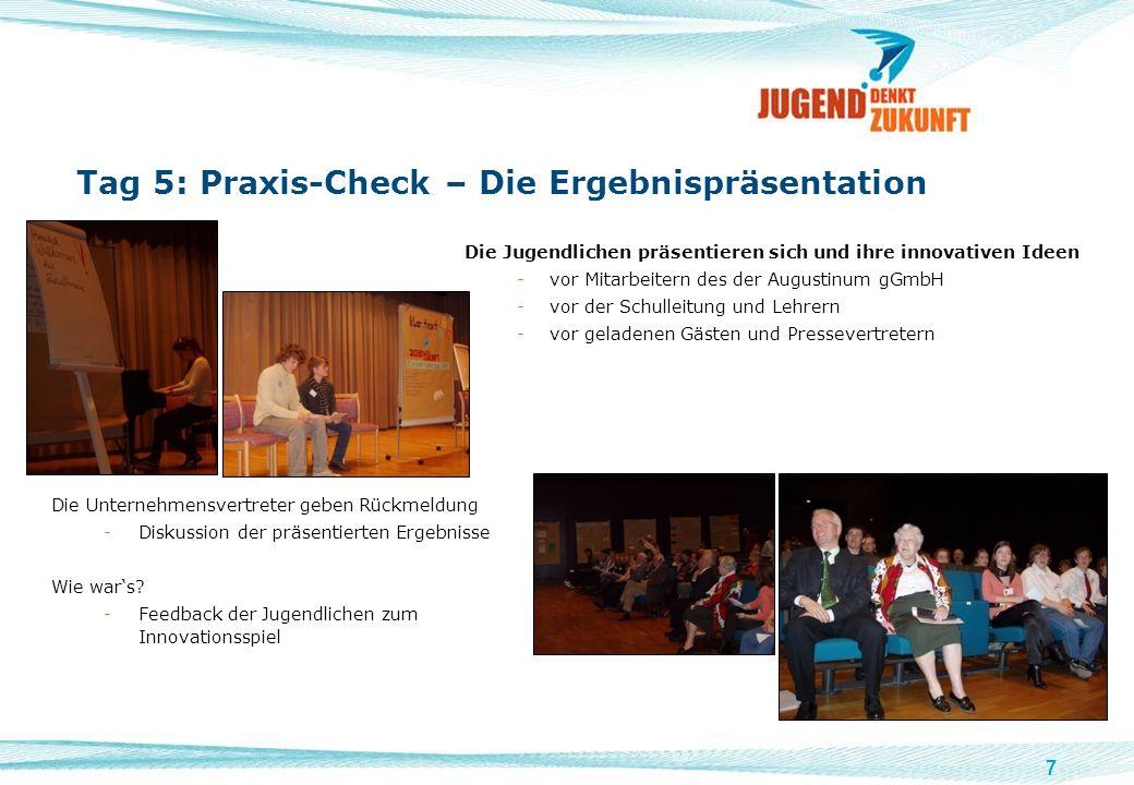 7 Tag 5: Praxis-Check – Die Ergebnispräsentation Die Jugendlichen präsentieren sich und ihre innovativen Ideen -vor Mitarbeitern des der Augustinum gG