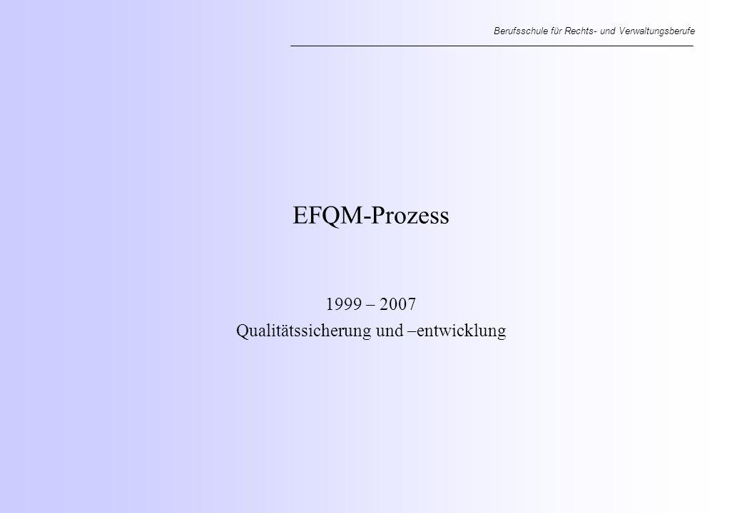 Berufsschule für Rechts- und Verwaltungsberufe EFQM-Prozess 1999 – 2007 Qualitätssicherung und –entwicklung