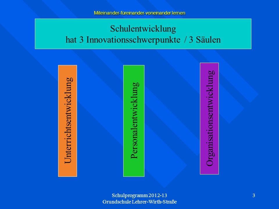 Schulprogramm 2012-13 Grundschule Lehrer-Wirth-Straße 4 Miteinander-füreinander-voneinander lernen