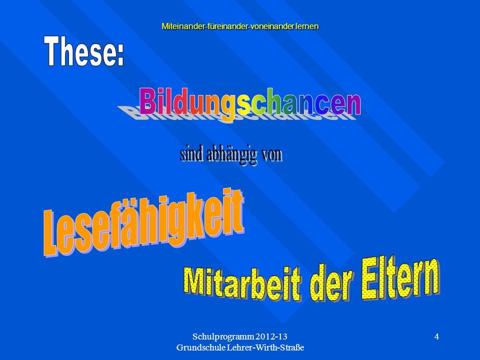 Schulprogramm 2012-13 Grundschule Lehrer-Wirth-Straße 5 Miteinander-füreinander-voneinander lernen Projekte gestalten unsere Schulentwicklung.